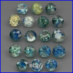 Round Diamond Cut 4 to 4.7 mm. Heated Only Blue Yellow Sapphire 18Pcs/7.25Ct